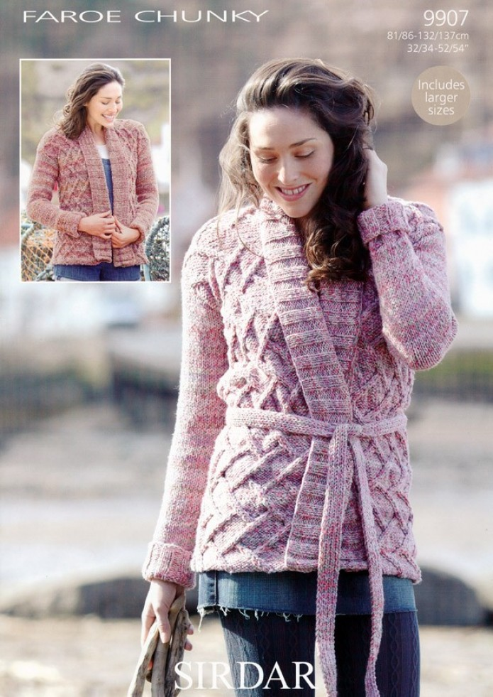 Sirdar Ladies Knitting Patterns : Sirdar Ladies Faroe Chunky Cardigans Knitting Pattern 9907 Knitting Patte...