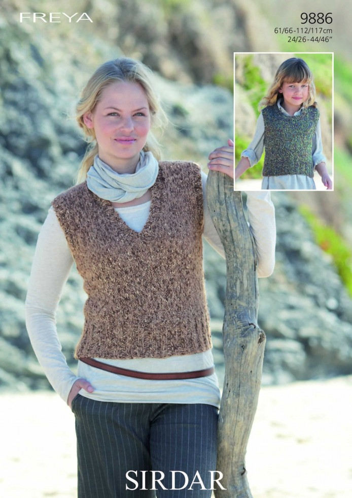 Sirdar Ladies Knitting Patterns : Sirdar Ladies/Girls Freya Tank Tops Knitting Pattern 9886 Knitting Patter...