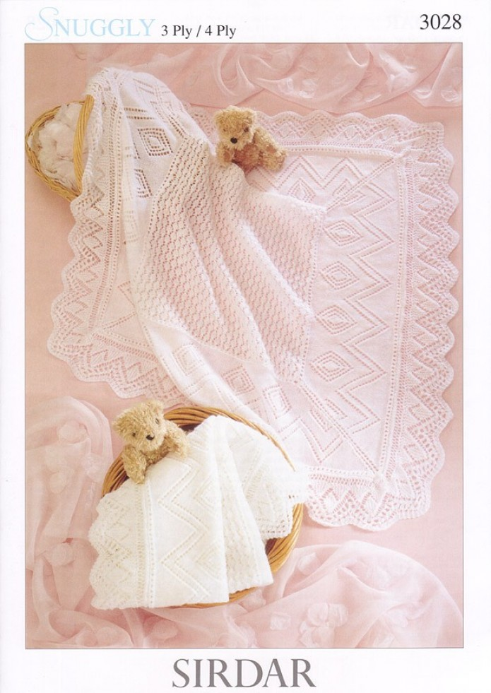 Knitting Pattern Baby Blanket 4 Ply : Sirdar Snuggly 4PLY & 3PLY Baby Shawl Blanket Knitting Pattern 3028 Kni...