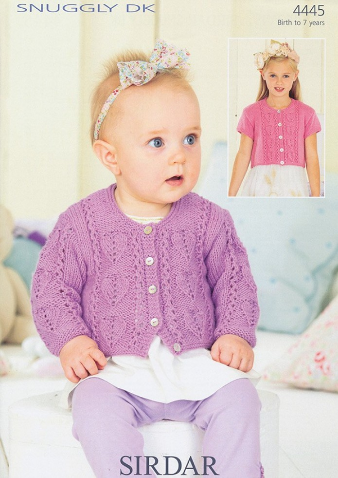 Sirdar Free Knitting Patterns For Babies : Sirdar Snuggly DK Baby Girls Cardigans Knitting Pattern 4445 Knitting Pat...