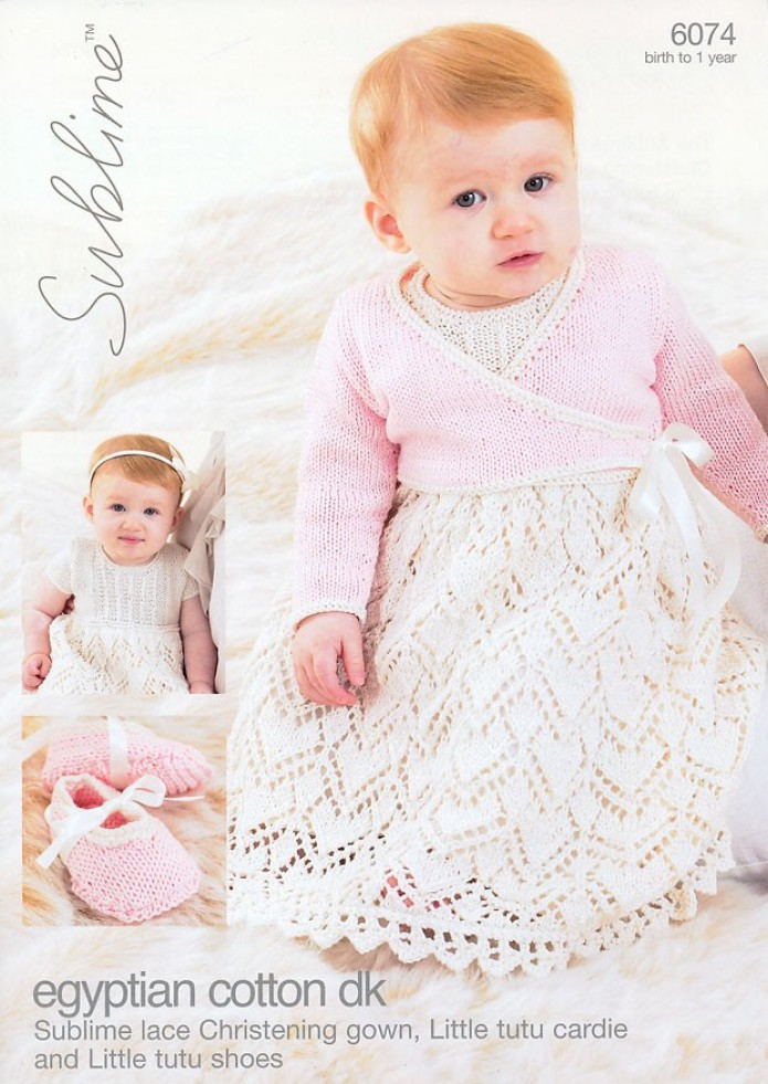 Sublime Egyptian Cotton DK Baby Christening Gown, Cardigan, Shoes Knitting Pa...