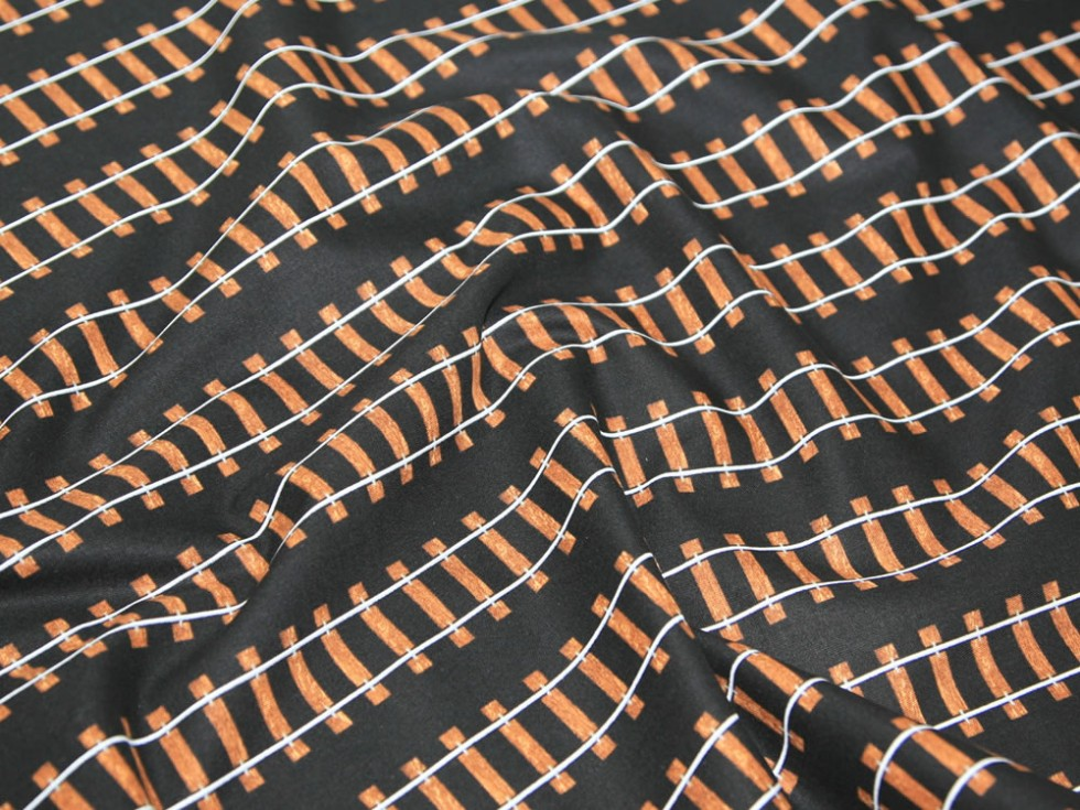 Premier quilting fabric straight train tracks minerva for Fabric with trains pattern