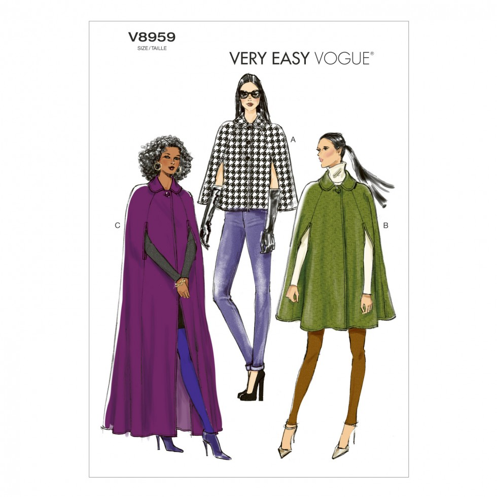 Vogue Ladies Easy Sewing Pattern 8959 Cape Coats In 3