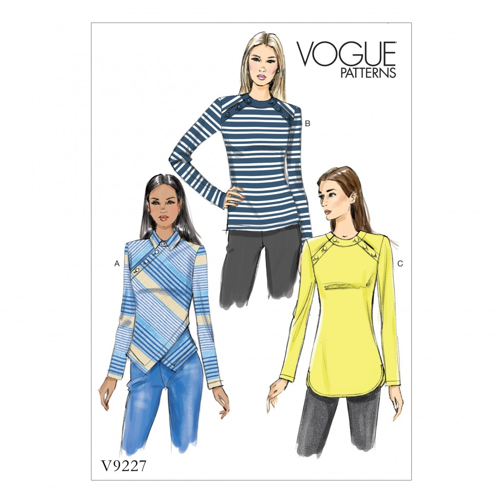 Jersey Knit Sewing Patterns : Vogue Ladies Easy Sewing Pattern 9227 Button Detail Jersey Knit Tops Sewing...