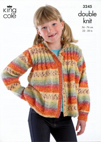 King Cole Childrens Sweater, Cardigan, Hat & Scarf Splash Knitting Patter...