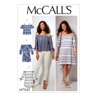 McCalls Ladies Easy Sewing Pattern 7543 Off The Shoulder
