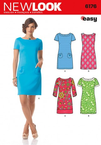 ba8cc0dbf7f5 New Look Ladies Easy Sewing Pattern 6176 Above Knee Shift Dresses ...