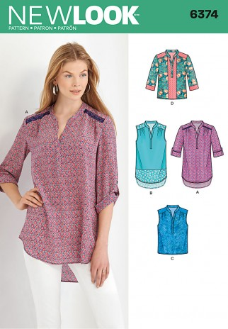 343f8100f0f25 New Look Ladies Sewing Pattern 6374 Blouse Shirt Tops in 4 Styles ...
