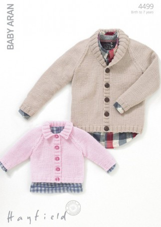 Hayfield Knitting Patterns For Babies : Hayfield Baby Cardigans Knitting Pattern 4499 Aran Knitting Patterns Mi...