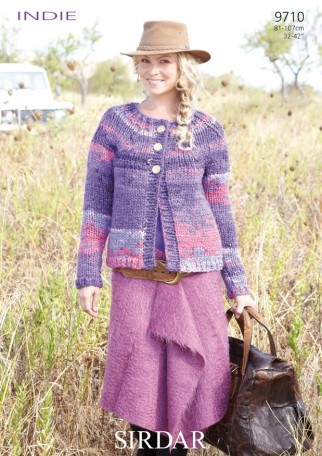 Knitting Patterns Lion Brand : Sirdar Indie Super Chunky Ladies Cardigan Knitting Pattern 9710 Knitting ...