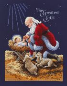 Janlynn Counted Cross Stitch Kit Kneeling Santa