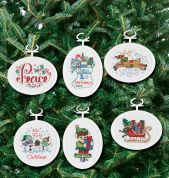 Janlynn Counted Cross Stitch Kit 6 Festive Ornaments