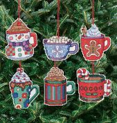 Janlynn Counted Cross Stitch Kit Christmas Cocoa Mug Ornaments