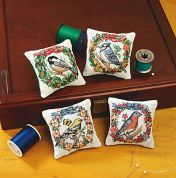 Janlynn Counted Cross Stitch Kit Seasonal Birds Pincushions