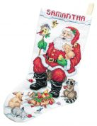 Janlynn Counted Cross Stitch Kit Santa & his Animals Stocking