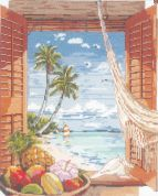 Janlynn Counted Cross Stitch Kit Tropical Vacation Window