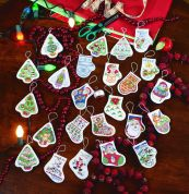 Janlynn Counted Cross Stitch Kit 24 Shaped Ornaments