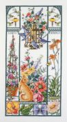 Janlynn Counted Cross Stitch Kit Summer Cat Sampler