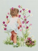 Janlynn Counted Cross Stitch Kit Girl with Cosmos