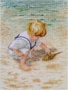 Janlynn Counted Cross Stitch Kit Boy with Horseshoe Crab