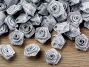 Lurex Rose Flowers  Silver