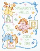 Janlynn Counted Cross Stitch Kit Sleepy Bunnies Birth Announcement