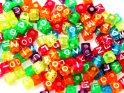 Darice Alphabet Letter Beads  Transparent Multi