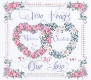 Janlynn Counted Cross Stitch Kit Two Hearts, One Love