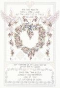 Janlynn Counted Cross Stitch Kit Wedding Doves Sampler