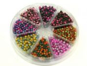 Hobby & Crafting Fun Bead Kit Round Two Tone Beads  Pink, Purple, Gold, Green & Blue
