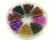 Bead Kit Round Two Tone Beads  Pink Purple Gold Green Blue