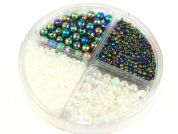 Hobby & Crafting Fun Bead Kit Seed Beads & Pearls  Rainbow Clear & Rainbow Oil
