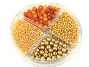 Hobby & Crafting Fun Bead Kit Seed Beads & Pearls  Gold & Copper