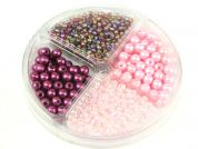 Hobby & Crafting Fun Bead Kit Seed Beads & Pearls  Pink, Mauve & Plum