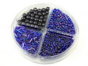 Bead Kit Seed Beads, Bugle Beads & Pearls  Blue & Purple