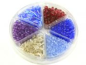 Bead Kit Bugle & Faceted Beads  Silver Blue Purple Red