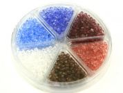 Hobby & Crafting Fun Bead Kit Plastic Faceted Beads  Blue, Pink, Mauve, Brown & Clear