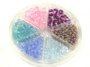 Hobby & Crafting Fun Bead Kit Seed & Faceted Beads  Purple, Pink, Green, Blue & Clear