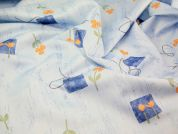 Floral Print Polyester Fabric  Blue & Orange