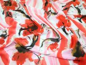 Large Floral Print Chiffon Dress Fabric  Pink & Orange