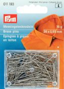 Prym 0.65 x 26mm Straight Brass Pins 26mm  Silver