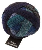 Schoppel Wolle  Crazy Zauberball Sock Knitting Yarn  4 Ply  1511 Grey/Royal/Jade