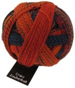 Schoppel Wolle  Crazy Zauberball Sock Knitting Yarn  4 Ply  1537 Orange/Red/Blue