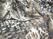 Abstract Print Stretch Cotton Dress Fabric  Grey & Beige