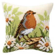 Vervaco Cross Stitch Kit Cushion Kit Robin