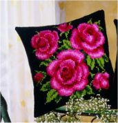 Vervaco Cross Stitch Kit Cushion Kit Pink Roses