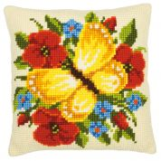 Vervaco Cross Stitch Kit Cushion Kit Yellow Butterfly