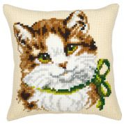 Vervaco Cross Stitch Kit Cushion Kit Cat with Green Bow