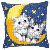 Vervaco Cross Stitch Kit Cushion Kit Moon & Kittens