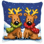 Vervaco Cross Stitch Kit Cushion Kit Reindeer Twins